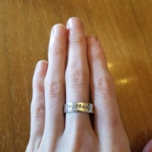 sterling silver etched ring size 9